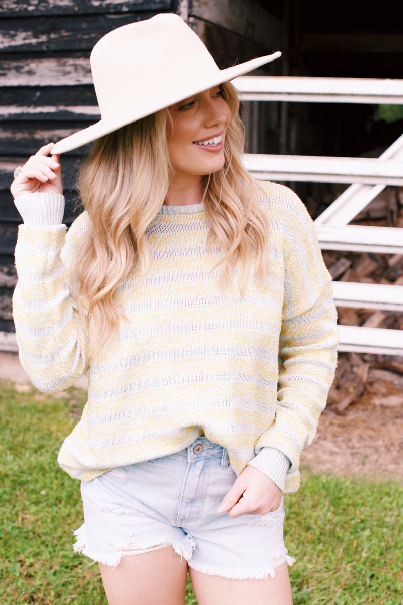 Seen Enough Color Block Sweater, Mint/Yellow
