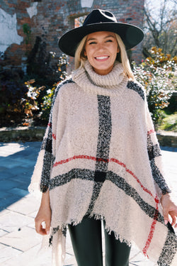 Stay For A Minute Plaid Turtleneck Poncho, Beige