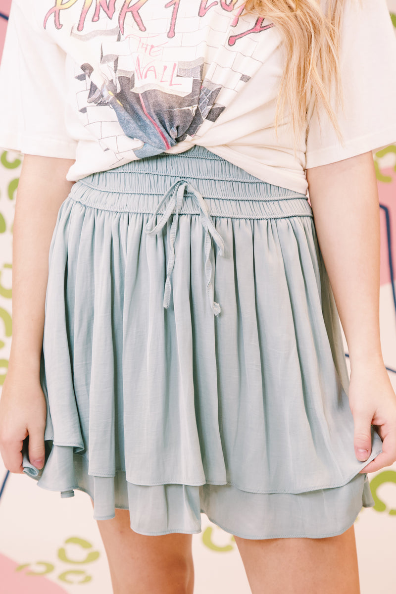 Slide Away Satin Skirt, Light Slate