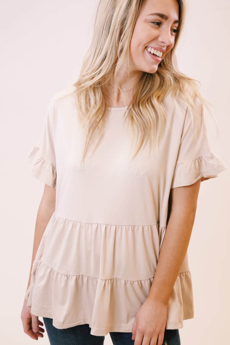 Tristan Tiered Top, Taupe