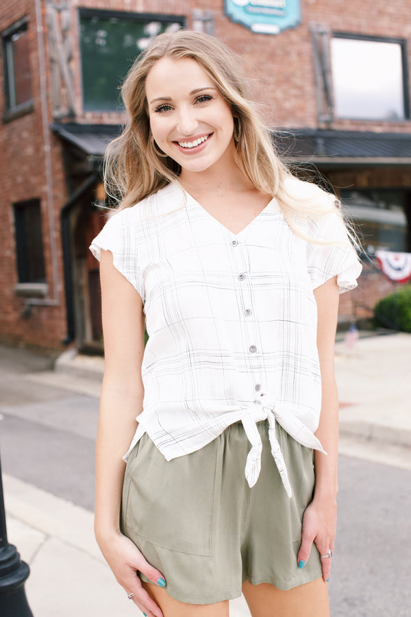 Striped Button Down Flutter Sleeve Top, Ivory