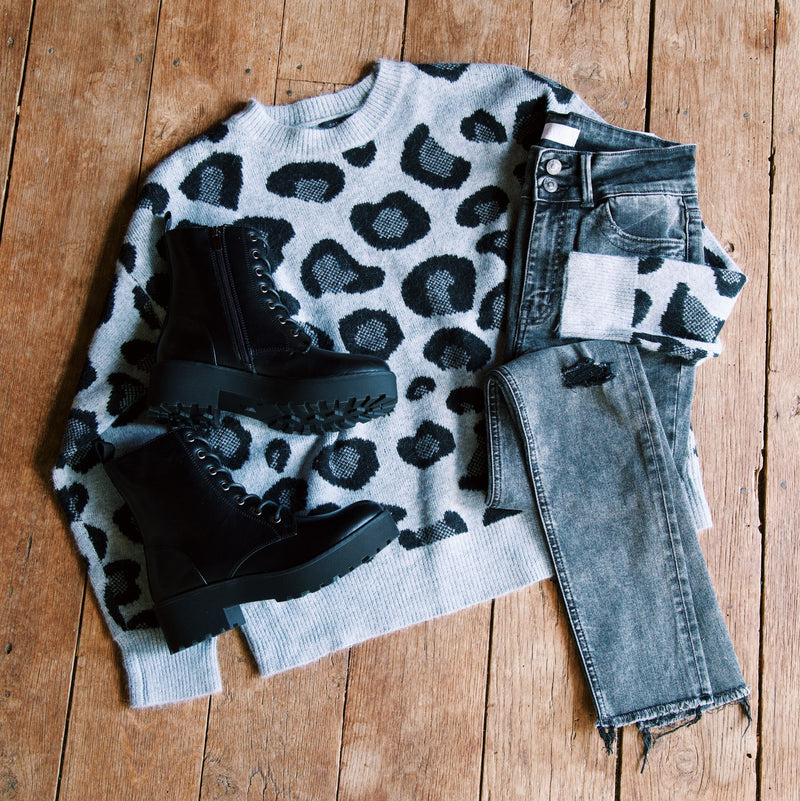Whitcomb Leopard Print Sweater, Grey