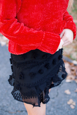 Walk This Way Dot Detail Ruffle Skirt, Black