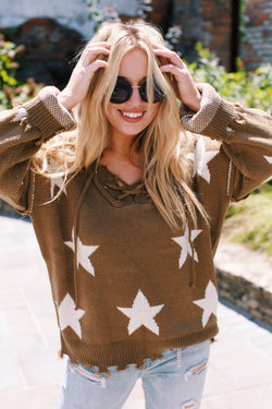 Give It A Try Star Lace Up Sweater, Olive/Ivory