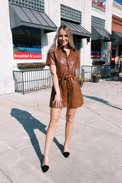Wandering Italy Faux Leather Mini Dress, Brown