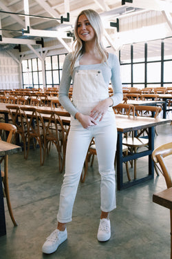 Brice Skinny Denim Overalls, White