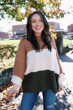 Staying In Striped Pocket Sweater, Toffee Combo
