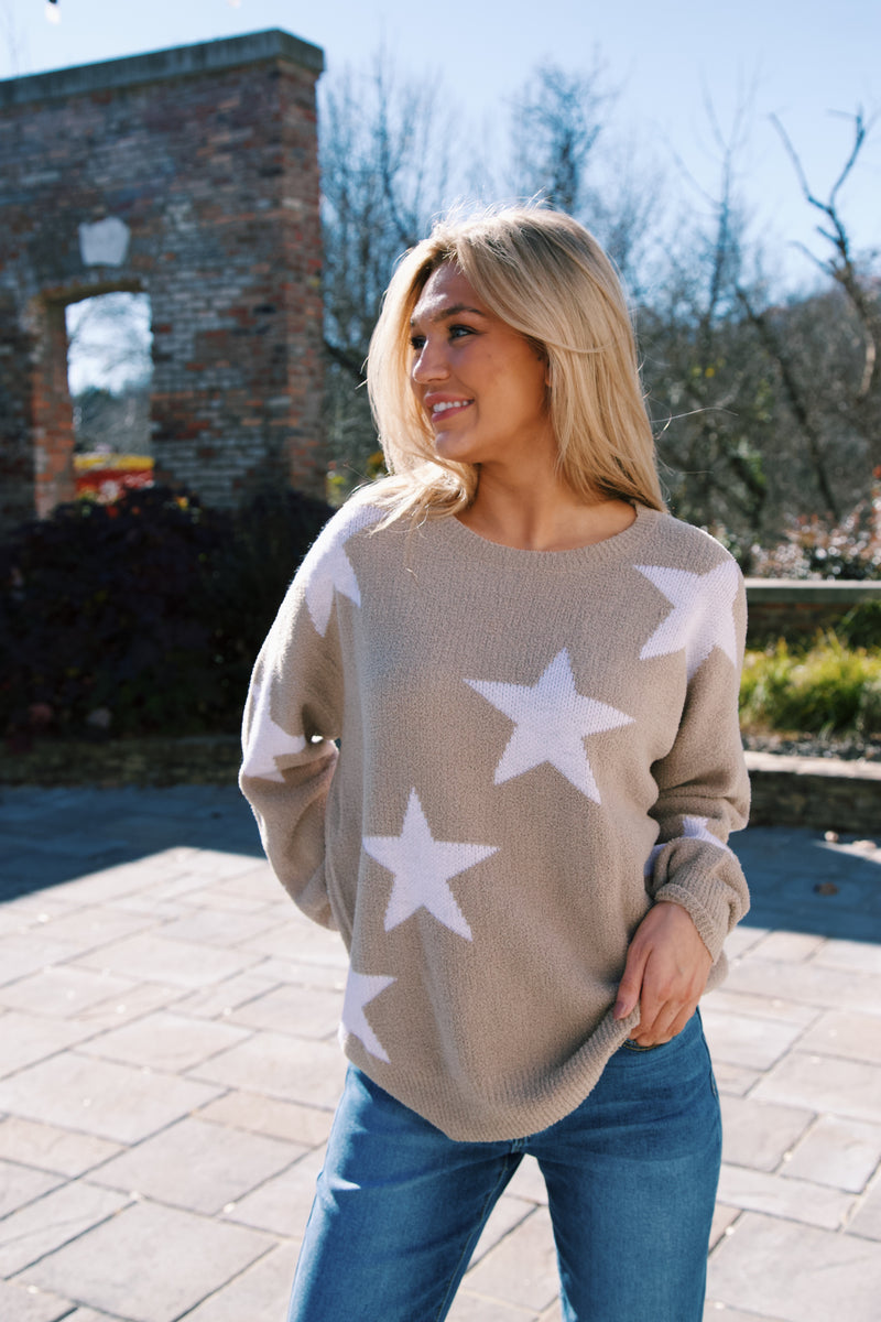 Rhiannon Star Print Sweater, Taupe | Extended Sizes Available