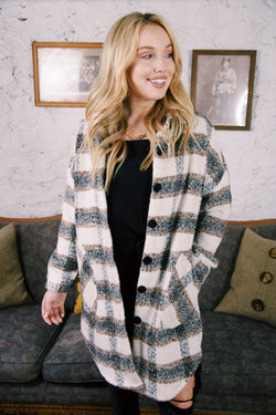 Wheeler Plaid Button Up Coat, Copper Ivory | RD Style