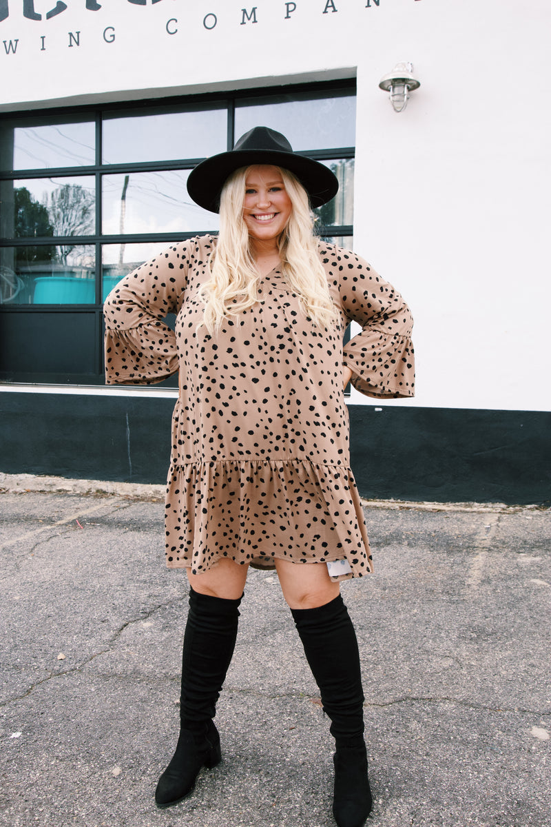 Laois Leopard Babydoll Dress, Camel/Black | Extended Sizes Available