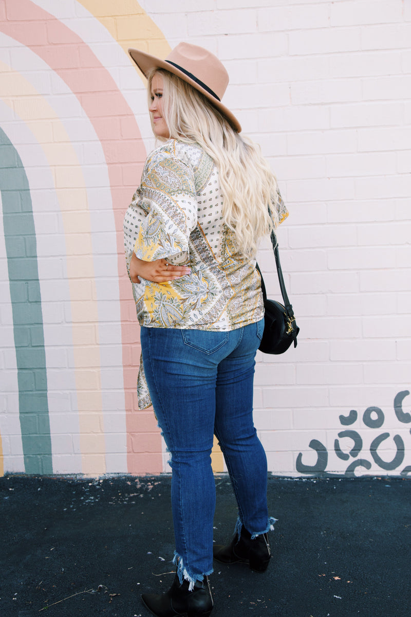 Paradise Paisley Print Blouse, Yellow Multi | Plus Size