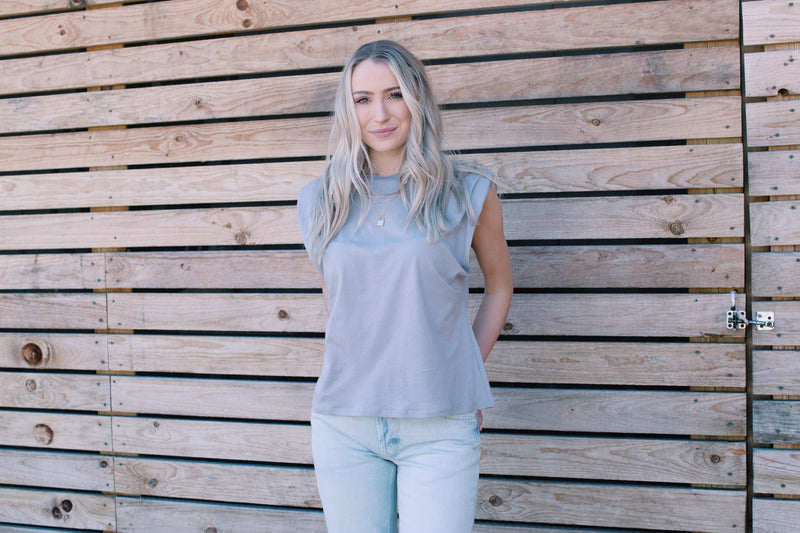 Bryanna Shoulder Pad Tee, Light Grey