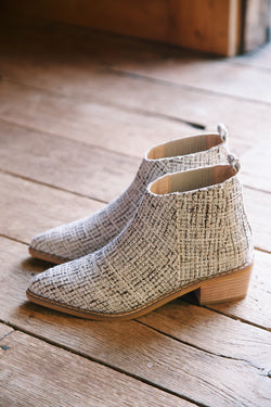 Francis Tweed Textured Bootie, Beige