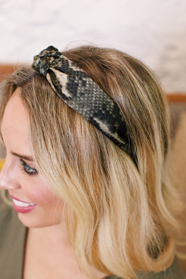 Snake Print Silk Headband, Olive Mix