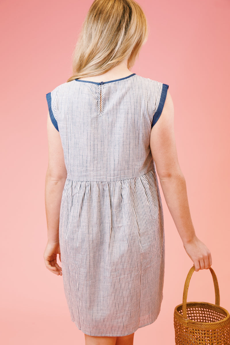 Blue Jean Baby Striped Dress, Denim Blue | Extended Sizes Available