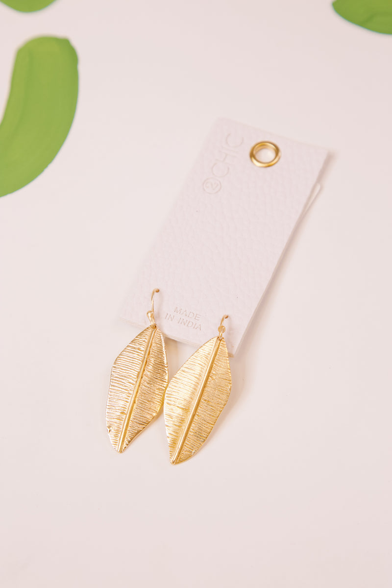 Boho Large Feather Earring, Gold