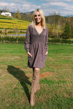 Candler Babydoll Knit Dress, Charcoal