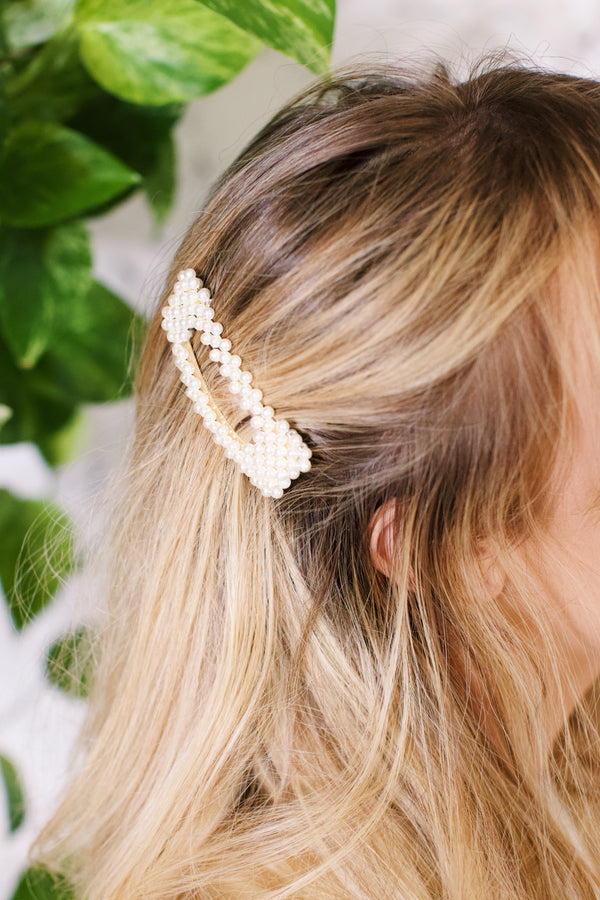 Rectangle Pearl Hair Clip, Pearl/Gold