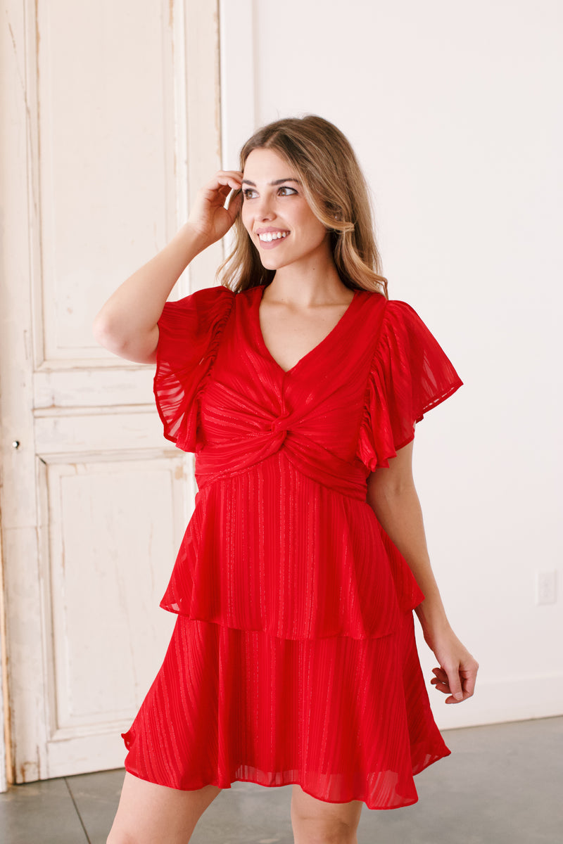 Today Could Be The Day Ruffle Sleeve Mini Dress, Red