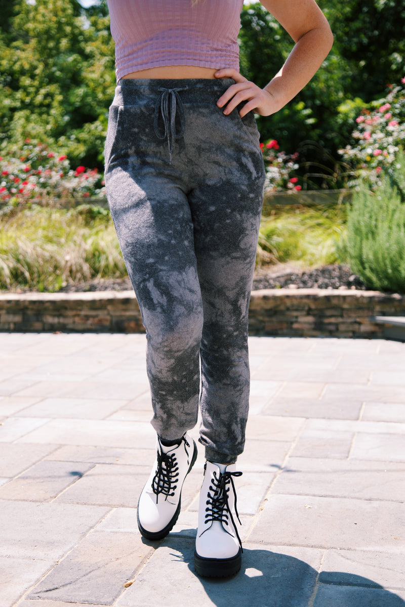 Say Yes Tie Dye Lounge Jogger, Black/Grey