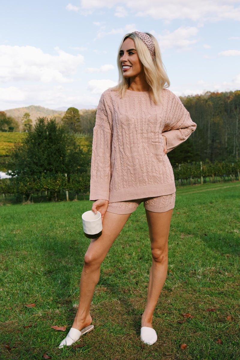 South Of France Cable Knit Sweater, Mauve