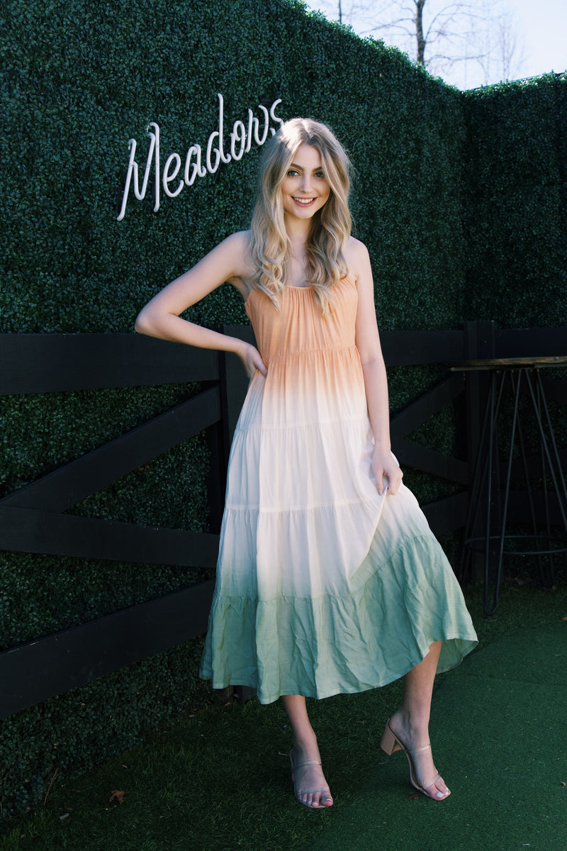 Madelyn Ombre Tiered Maxi Dress, Peach/Sage