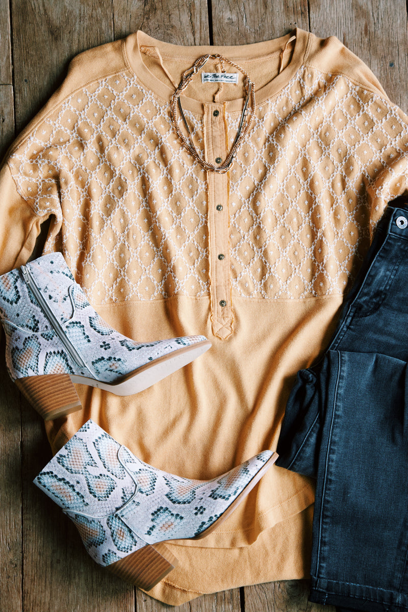 Free Spirit Embroidered Button Neck Tee, Peach Fuzz | Free People
