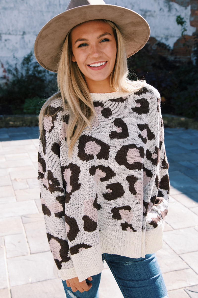 Cortlandt Animal Print Leopard Sweater, Cream/Brown