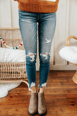 Clara High Rise Skinny Crop Distressed Jeans, Briny Medium