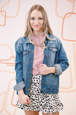 Sandy Oversized Denim Jacket, Dark Denim