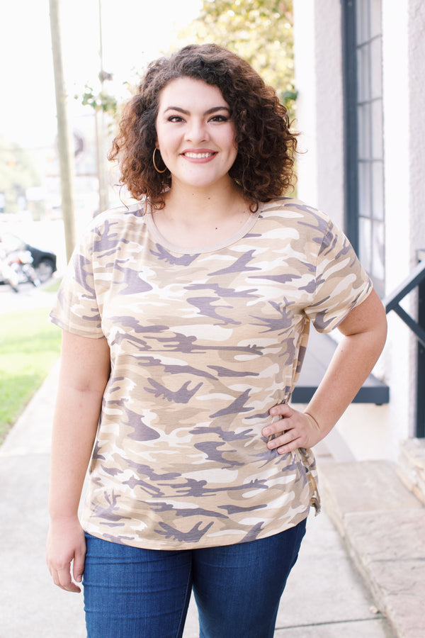 The A Team Camo Tee, Taupe Camo | Plus Size
