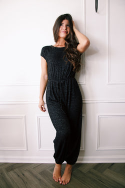A Wild Thing Knit Lounge Jumpsuit, Black
