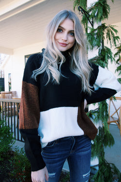Cordell Colorblock Sweater, Black Combo