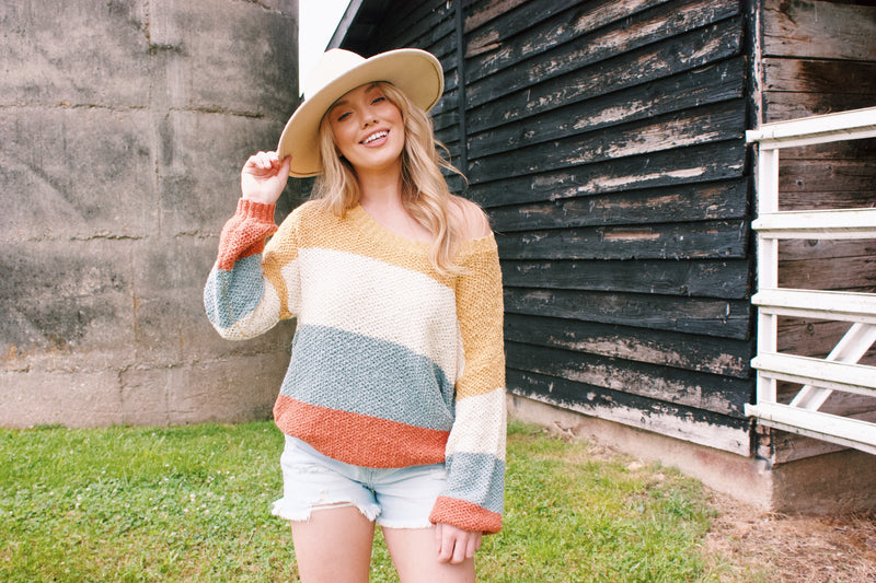 The Way That I'm Feeling Color Block Sweater, Sienna/Ivory