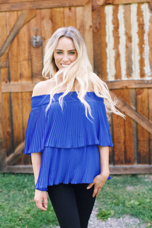 Kingston Off the shoulder Top, Royal Blue