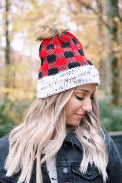 Buffalo Plaid Fleece Lined Knit Beanie, Red