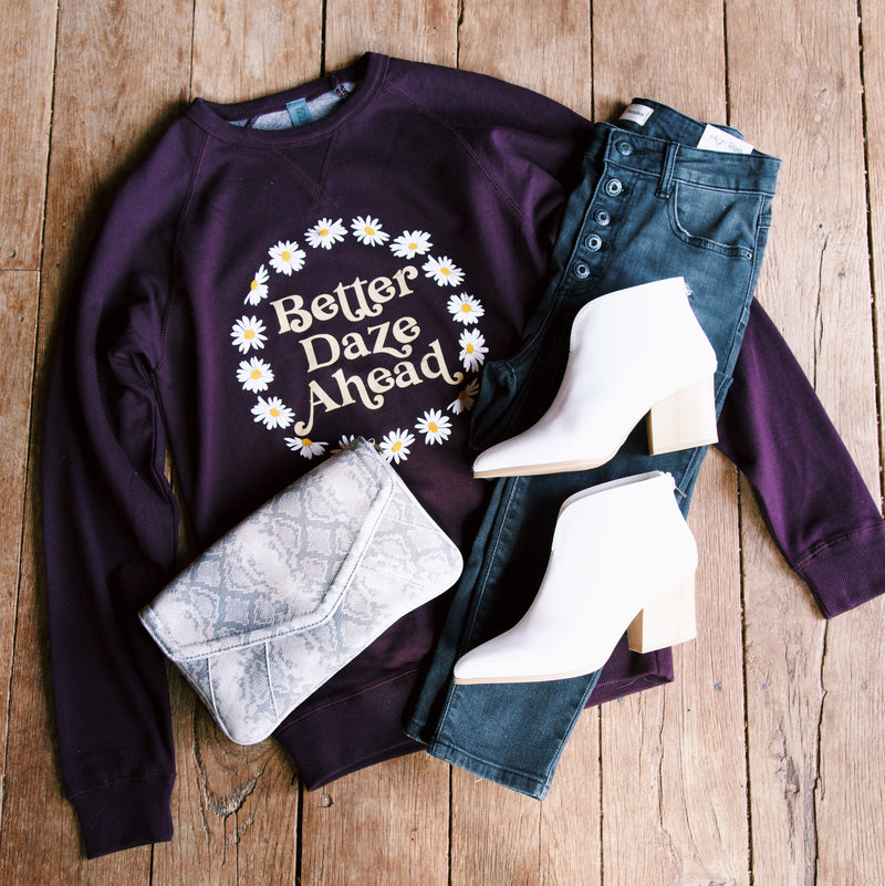 Better Daze Ahead Pullover Sweatshirt, Wine | Extended Sizes Available