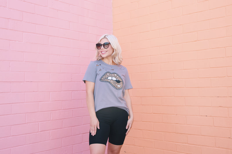 Wild Child Distressed Leopard Lips Graphic Tee, Charcoal
