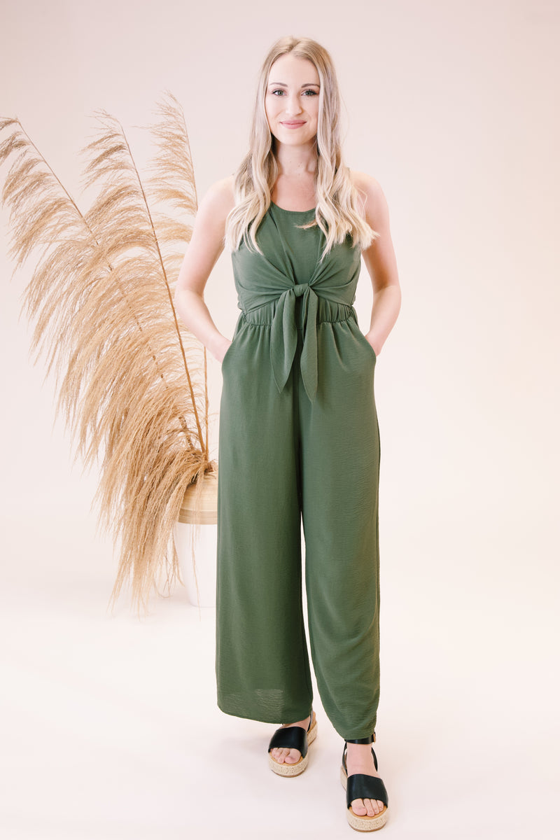 Don't Give Up Sleeveless Jumpsuit, Olive