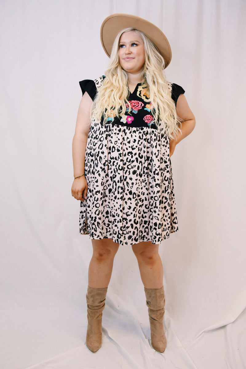 Teagan Embroidered Leopard Print Dress, Black Multi | Extended Sizes Available