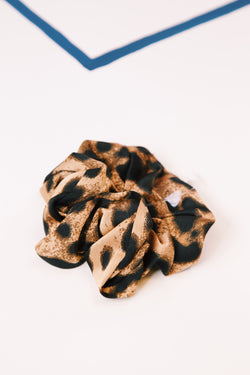 Leopard Scrunchie, Brown/Black