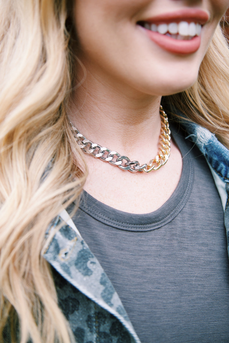 Tatum Two Tone Chain Necklace, Gold/Silver