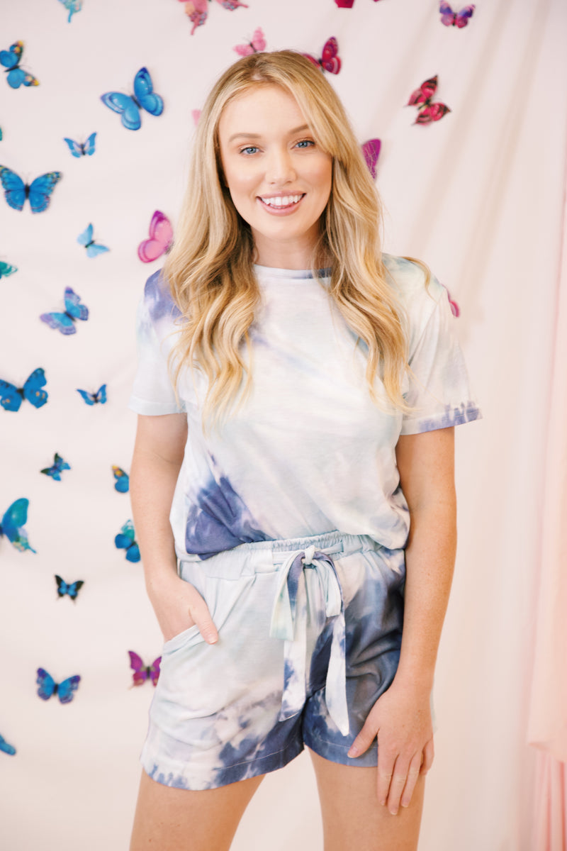 Bondi Beach Tie Dye Lounge Top, Blue Multi