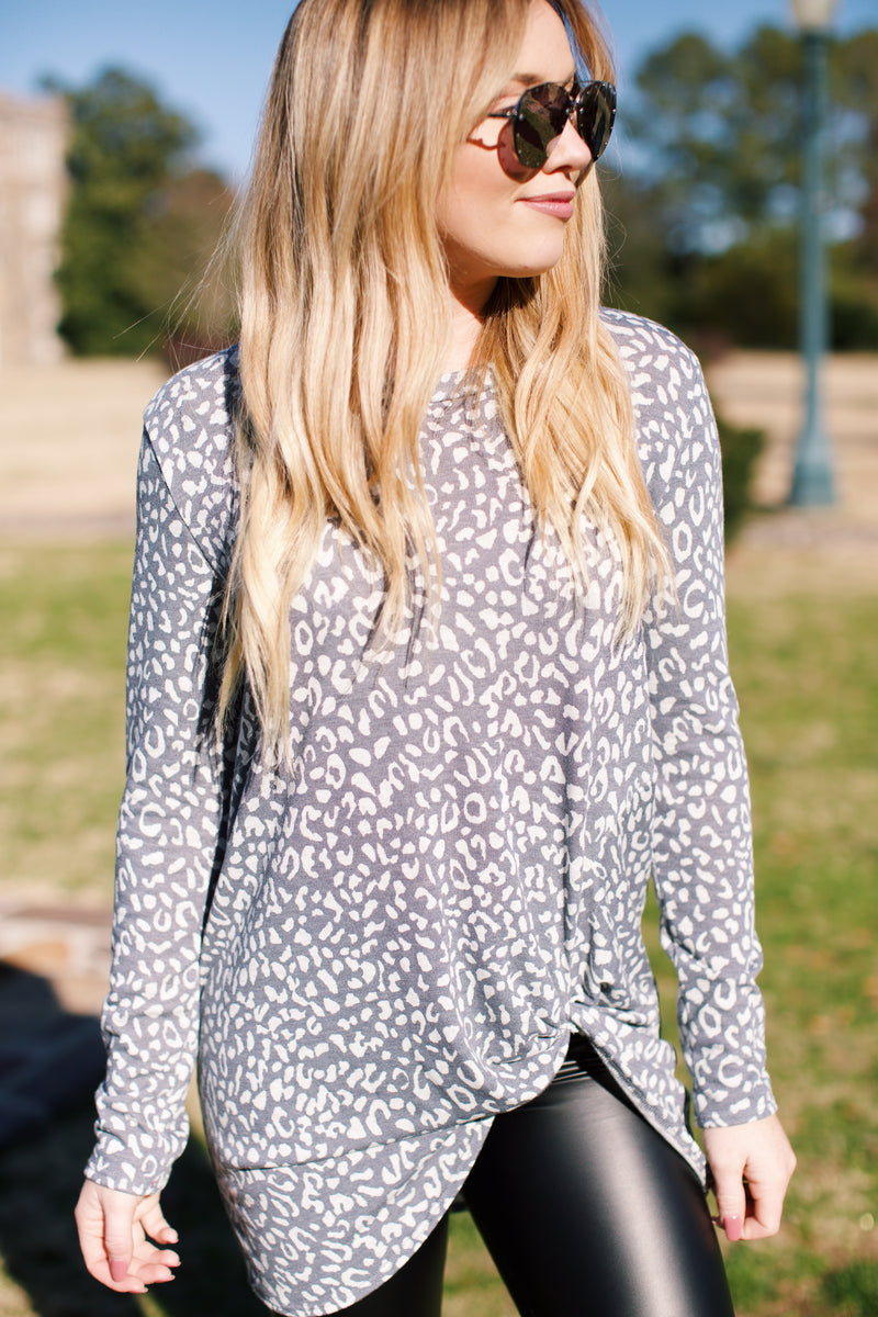 Feeling Good Front Knot Animal Print Tunic, Grey