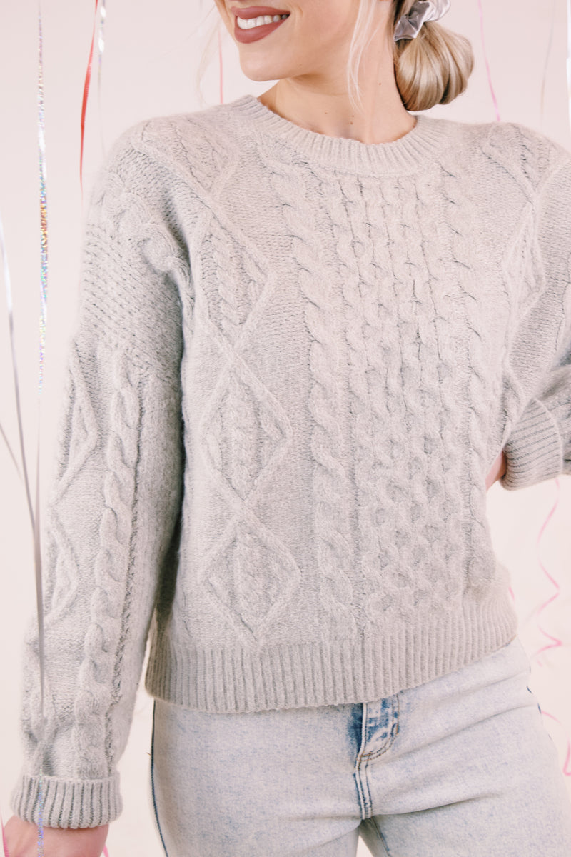 Cambridge Cable Knit Sweater, Grey