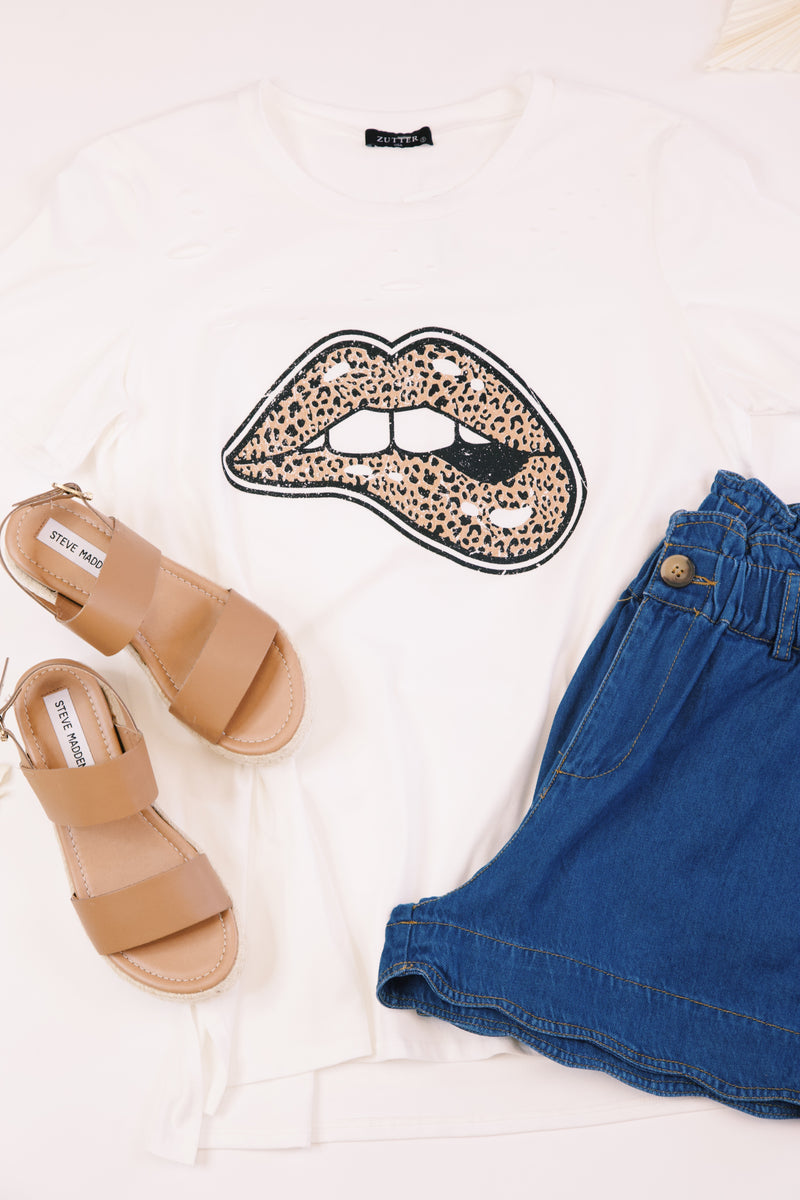 Wild Child Distressed Leopard Lips Graphic Tee, Ivory
