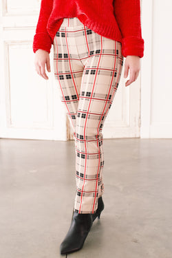 Kick Crop Canaby Pants, Champagne Plaid | Sanctuary