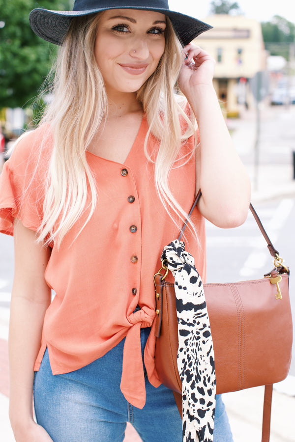 Feeling Peachy Button Front Top, Orange