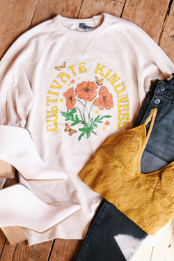Cultivate Kindness Pullover Sweatshirt, Oatmeal | Extended Sizes Available