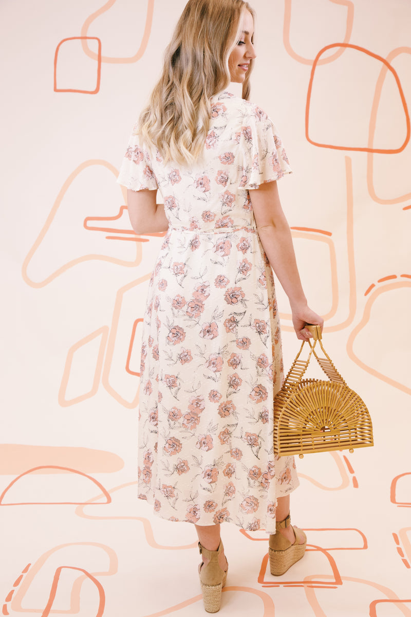Freesia Flutter Sleeve Floral Midi Wrap Dress, Ivory